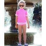 美國RuffleButts 甜心點點荷葉風 夏日防曬泳裝組 芭比粉UPF 50+