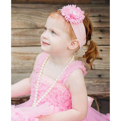 美國RuffleButts粉嫩雛菊Pink Avery小女童髮帶