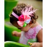 美國RuffleButts Pink Khloe粉紅羽毛小女童髮帶