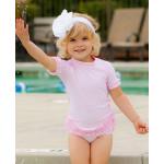 美國RuffleButts 甜心點點荷葉風 夏日防曬泳裝組 公主粉UPF 50+