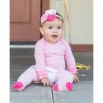 美國RuffleButts 粉紅點點小公主褲襪