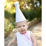 美國RuffleButts 粉紅甜心Pink Seersucker 寶貝生日帽(周歲派對好幫手)