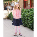 美國RuffleButts 冬季暖暖女童褲襪 粉紅條紋