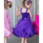 美國RuffleButts 超夢幻公主大蓬裙雪紡洋裝 艷紫款