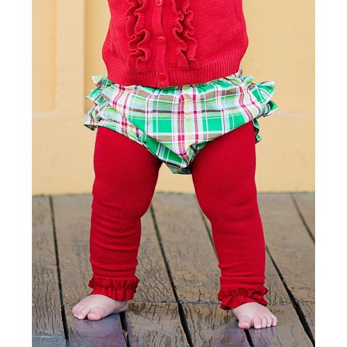 美國RuffleButts 冬季暖暖女童褲襪 耶誕紅