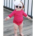美國RufflebButts 甜心點點荷葉風 夏日防曬泳裝組 耀眼紅UPF 50+
