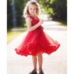 美國RuffleButts 超夢幻公主大蓬裙雪紡洋裝 耀眼紅 耶誕