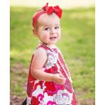 美國RuffleButts Red Reagan 艷紅公主蝴蝶結小女童髮帶 耶誕