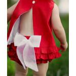 美國RuffleButts 艷紅寶貝蕾絲蝴蝶結包屁褲