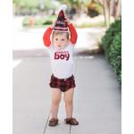 美國RuffleButts 生日男孩長袖包屁衣 紅色 慶生必備!