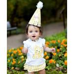 美國RuffleButts 嫩黃寶貝Yellow Gingham 寶貝生日帽(周歲派對好幫手)